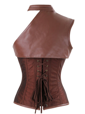 Heavy Duty Steampunk Steel Boned Faux Leather Overbust Corset