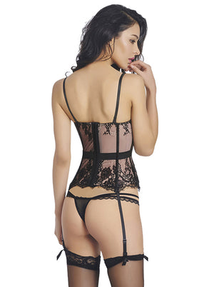 Fashion Rose Lace Mesh Overbust Corset