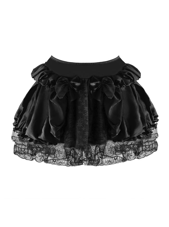 Women's Plus Size Sexy Vintage Retro Babydoll Ruffle Satin Floral Lace Lined Tutu Skirt Dancing Petticoat