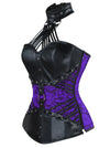 Women's Steampunk Cosplay Gothic Halter Faux Leather Steel Boned Bustier Corset
