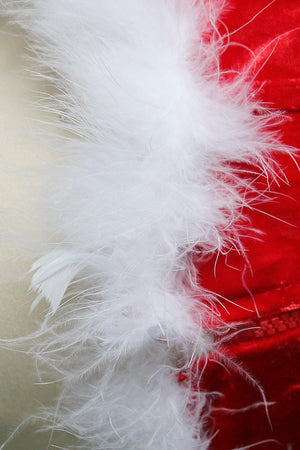 Red Velvet Overbust Plastic Bone Corset with White Feather
