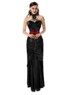 Women's Steampunk Goth Halter Faux Leather Corset and Satin Skirt Set