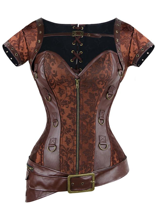 Plus Size Spiral Steel Boned Retro Brocade Steampunk Corset Bustier with Jacket and Belt