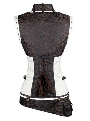 Steel Boned Steampunk Gothic Overbust Brown And White Corset with Belt