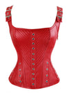 Women's Faux Leather Square Neck Boned Punk Gothic Retro Bustier Corset