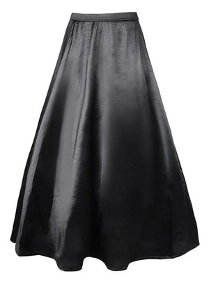 Women's Vintage Satin High Waisted Maxi Skirt Dress
