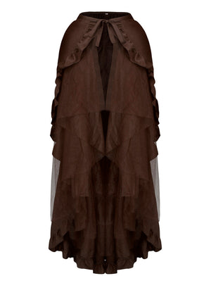 Retro Multi-layered Mesh and Ruffle Asymmetrical Cosplay Skirt Coffee/Black