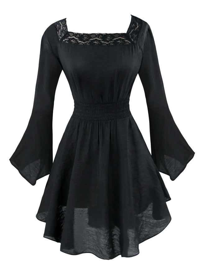 Women's Victorian Gothic Tencel Cotton Lace Corset Top Tunic Dress