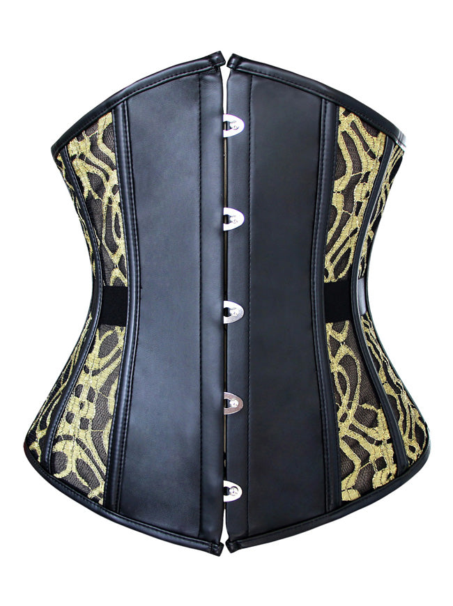 Gothic Faux Leather Underbust Lace Waist Training Cincher Corset for Weight Loss
