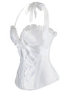 Burlesque Vintage Satin Halter White Bustier Corset Top with Lace