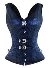 Gothic Steampunk Steel Boned Jacquard Overbust Corset Vest Top with Buckles