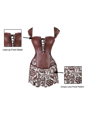 Women's Steampunk Gothic Faux Leather Bustier Corset with Lace Skirt