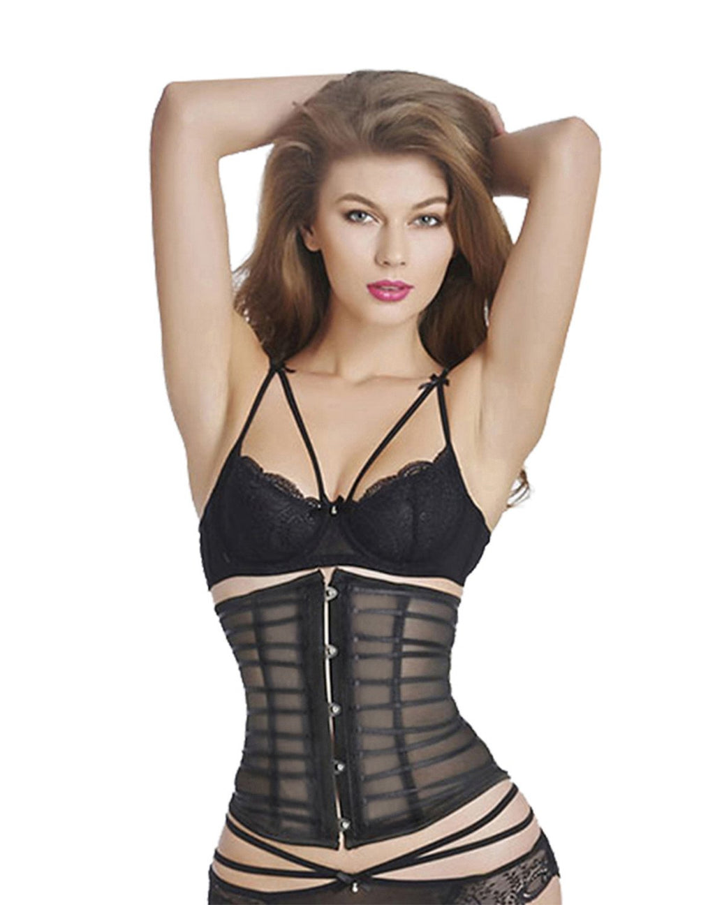 Women's Mesh Striped Transparent Boned Underbust Black Corset Bustier