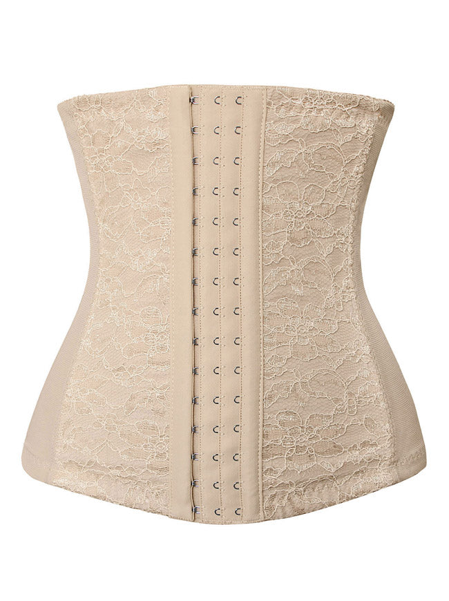 Women's Lace Waist Training Cincher Spiral Steel Boned Hourglass Body Shaper Shapewear