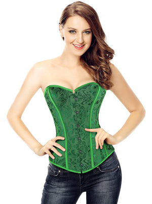 Women's Vintage Palace Jacquard Sweetheart Strapless Overbust Corset