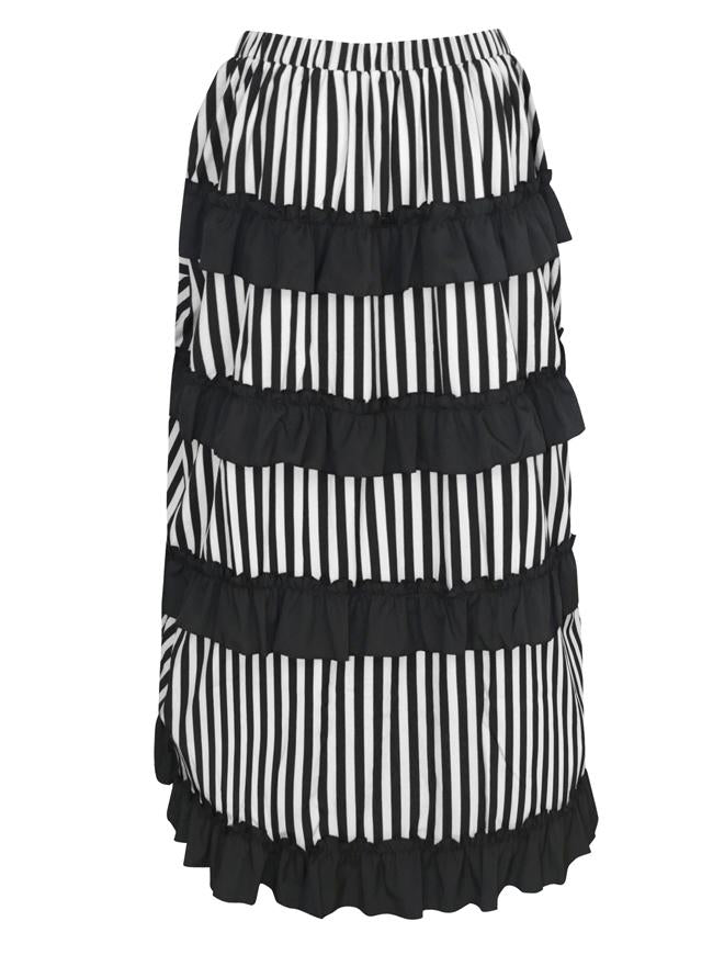 Victorian Steampunk Gothic Irregular High-low Ruffle Skirt /Black and White Stripes
