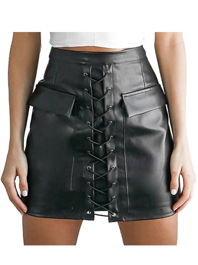 Women's Steampunk Faux Leather High Waist Lace Up Bodycon A-line Mini Skirt