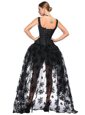 Victorian Gothic Black Jacquard Overbust Corset with Organza High Low Skirt Sets