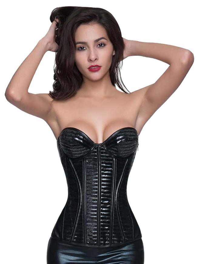 Women's Strapless Overbust Steampunk Gothic Faux Leather Corset Bustier Top