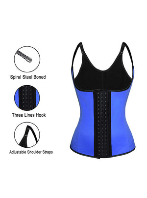Plus Size Steel Boned Latex 3 Rows of Hooks Underbust Waist Trainer Corset