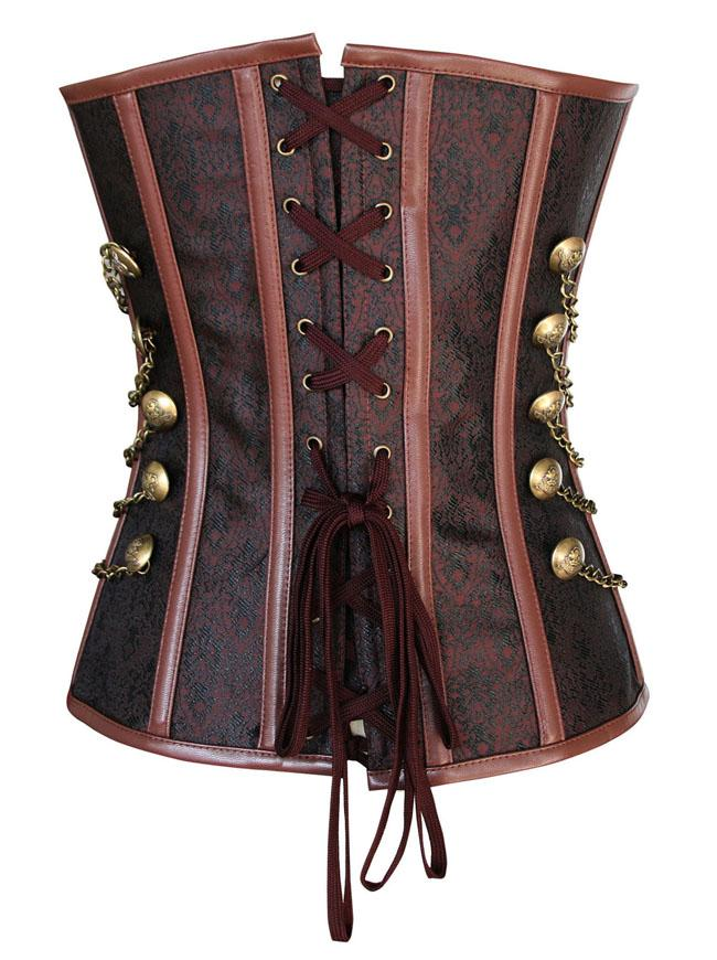 Steampunk Gothic Vintage Steel Boned Brocade Overbust Corset with Chain Stud