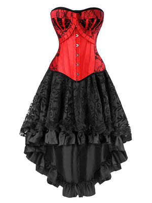 Women's Steampunk Gothic Vintage Boned Bustier Corset with High Low Skirt