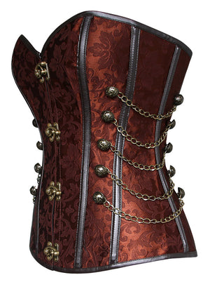Steampunk Gothic Spiral Steel Boned Brocade Overbust Waist Cincher Corset with Chains