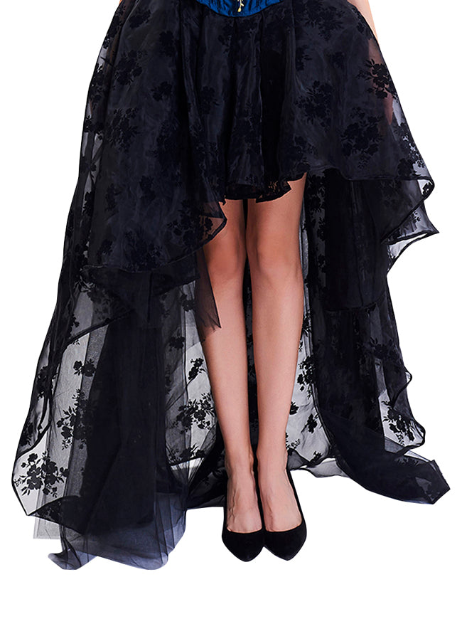 Women's Steampunk Gothic Irregular Floral Print High-low Bubble Skirt