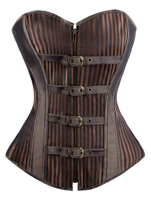 14 Spiral Steel Boned Retro Goth Stripe Steampunk Corsets Bustiers with Buckles