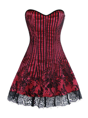 Women's Gothic Retro Victorian Stripe Lace Boned Corset Dress Homecoming Dresses