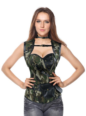 Spiral Steel Boned Steampunk Gothic Vintage Camouflage Corset with Jacket and Belt