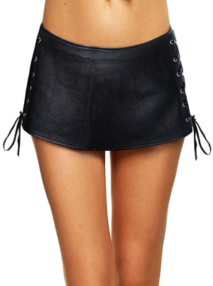 Women's Punk Sexy Short Faux Leather Lace-up Side Mini Skirt