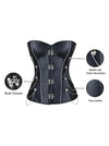Spiral Steel Boned Steampunk Gothic Faux Leather Overbust Corset Top with Chain