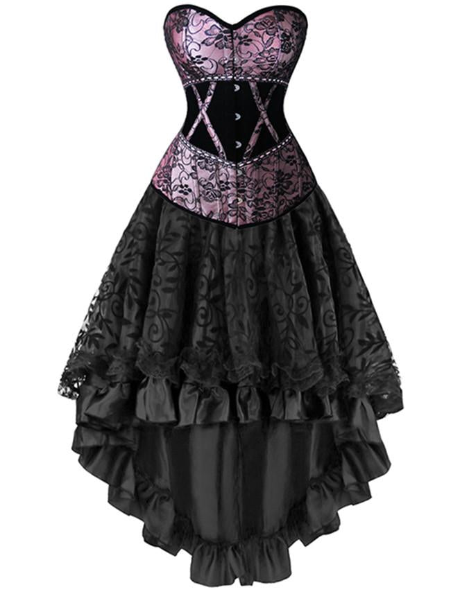Women's 2 Pcs Deluxe Vintage Victorian Floral Overbust Corset with Dancing Skirt Set