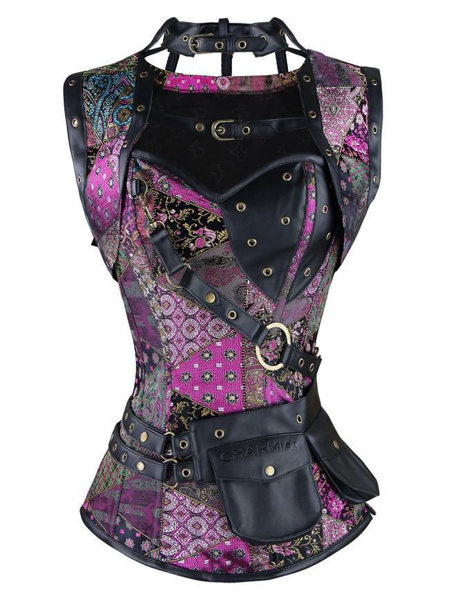 Steampunk  Steel Boned Unique Jacquard Bustiers Corset with Jacket