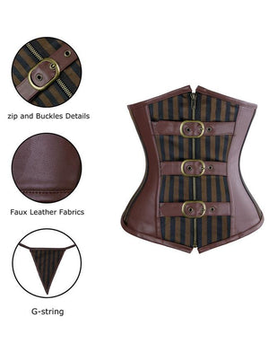 Stripe Underbust Steel Boned Gothic Retro Steampunk Corset Top with Buckles