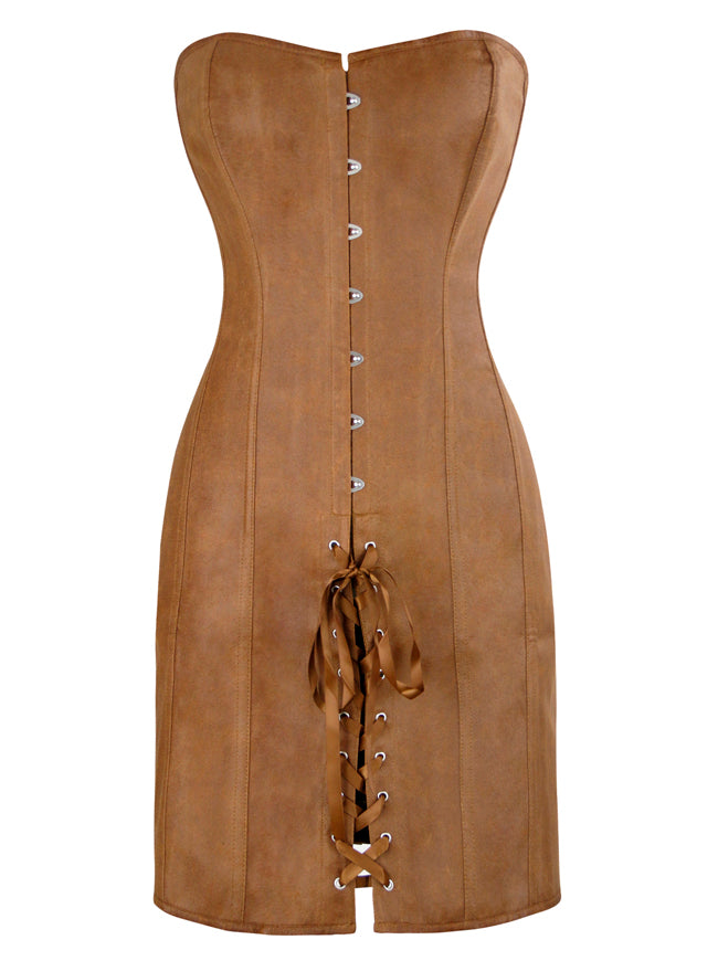Steampunk Matte Faux Leather Strapless Lace Up Coffee Long Corset Dress