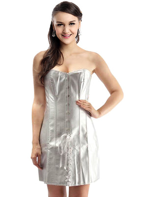 Silver  Faux Leather Strapless Lace Up Long Corset Dress
