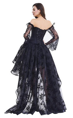 Victorian Gothic Floral Lace Overbust Corset with Organza High Low Skirt Sets Black