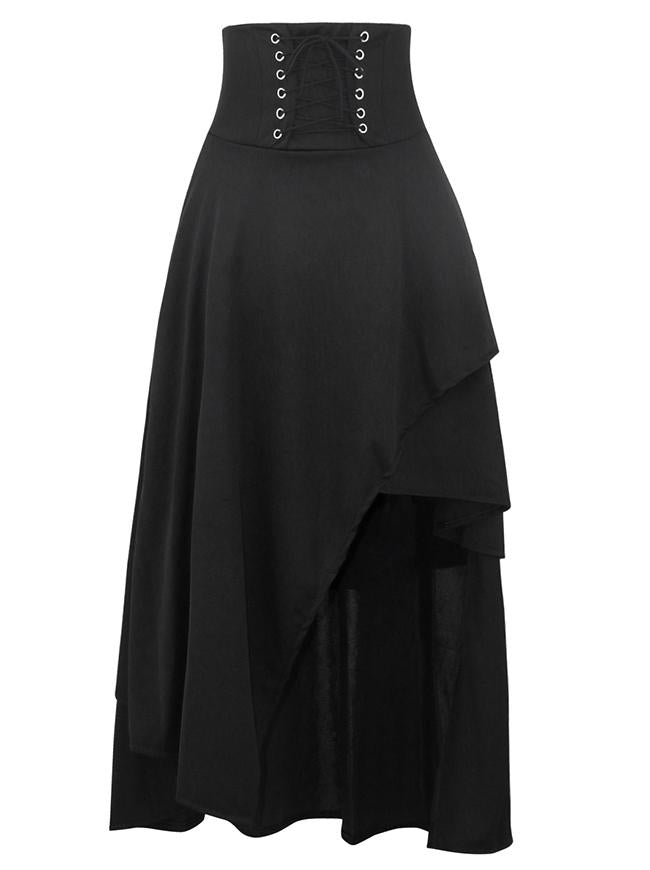 Medieval Renaissance Black Asymmetrical Long Skirt Steampunk Gothic Hi Low Skirt