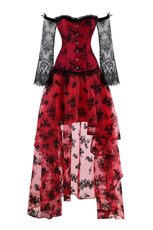 Women's Red Steampunk Plastic Boned Lace Corset Long Sleeve Skirt Set