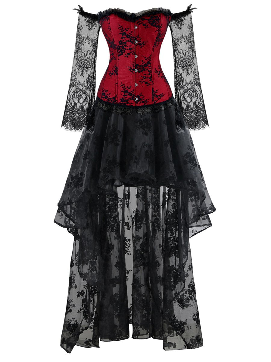 Gothic Red Long Floral Sleeve  Off-Shoulder Corset Organza Skirt Set