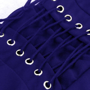 Women's Fashion Vintage Punk Rock Gothic Blue High Waist Layered Skirt with Lace-up