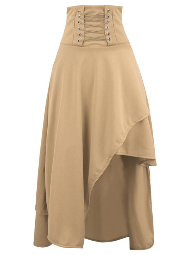 Medieval Renaissance Costume Victorian Steampunk Gothic Long Khaki Skirt
