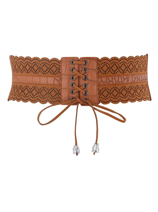 Women's Lace-up Hollow Boho Belt Stretchy Vintage Western Brown Belt