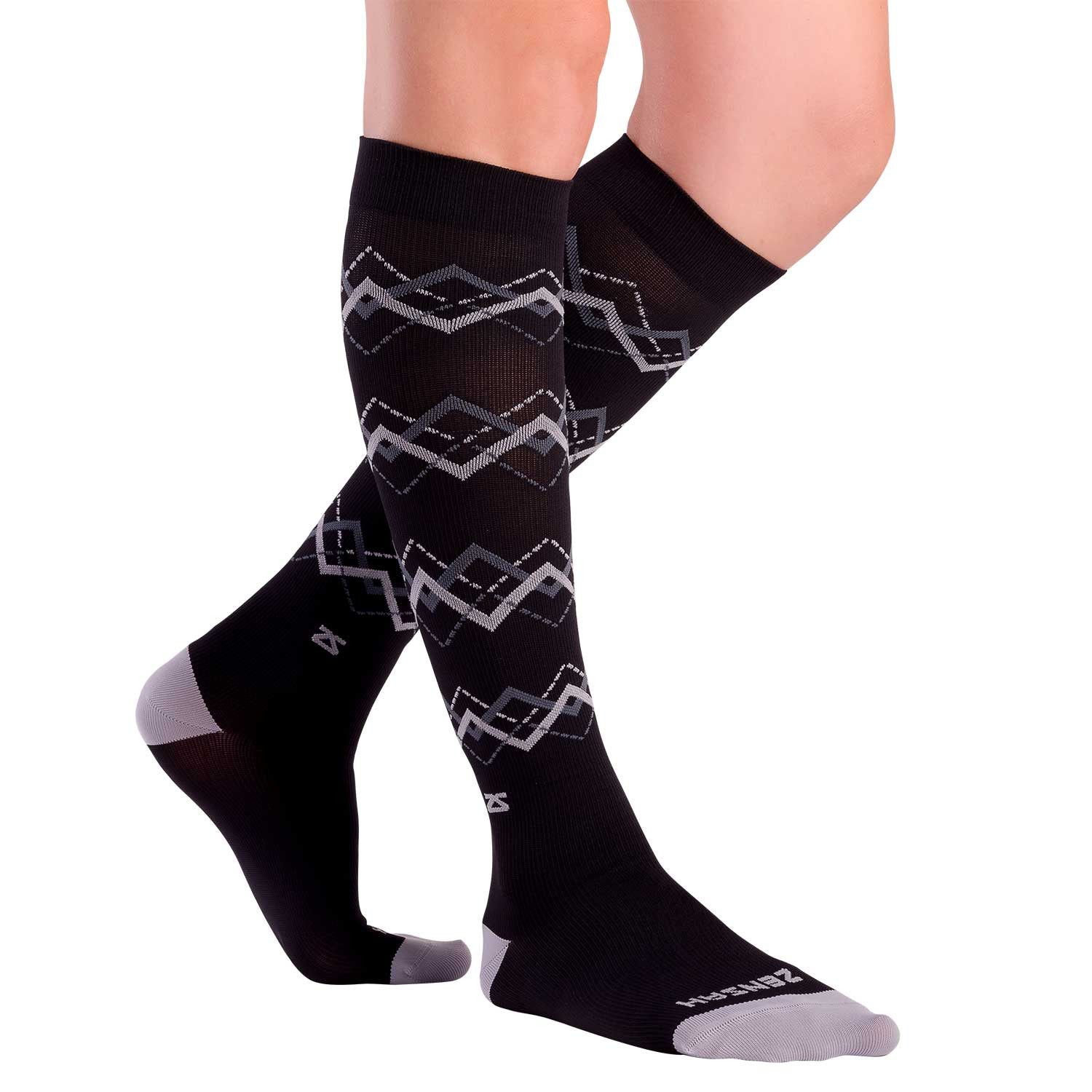 Chevron Argyle Compression Socks