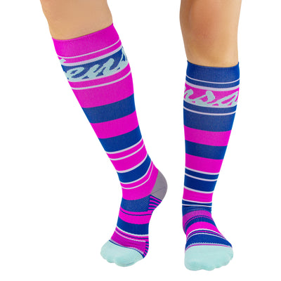 Pink and blue striped compression socks for women