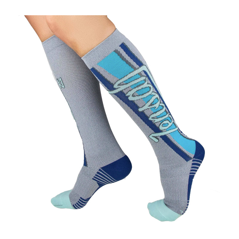 Fresh Legs Grey compression sock with vertical blue stripes