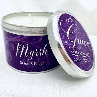 "MYRRH SCRIPTURE TIN - ""HIS GRACE IS SUFFICIENT"""