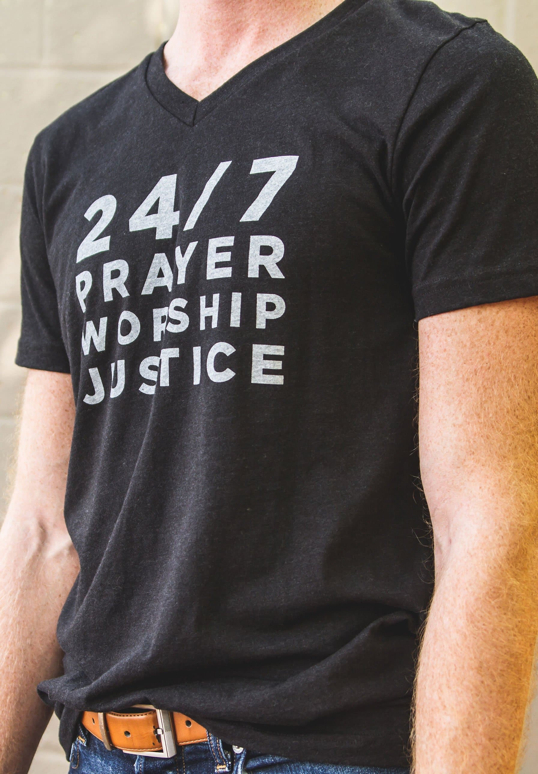 24/7 Prayer, Worship, Justice V-Neck Men's T-Shirt - Merchandise: Clothing - Forerunner Bookstore - Forerunner Bookstore Online Store
